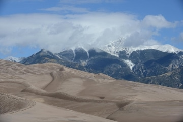 Great Sand Dunes and Mt. Herard in Clouds    Colorado
