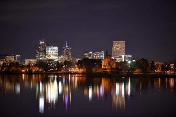 Sloan's Lake Skyline at Night || Denver