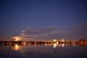 Sloan's Lake Skyline with Full Moon || Denver