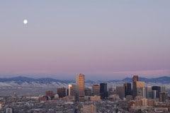 Moonrise over Denver || Colorado